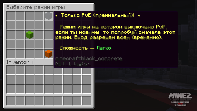 Вход на PvE Minecraft сервер